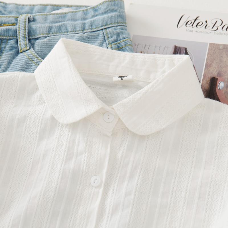 小清新衬衫 秋季新款娃娃领纯棉白衬衫女长袖小清新学生衬衣打底衫加绒_推荐淘宝好看的女小清新衬衫