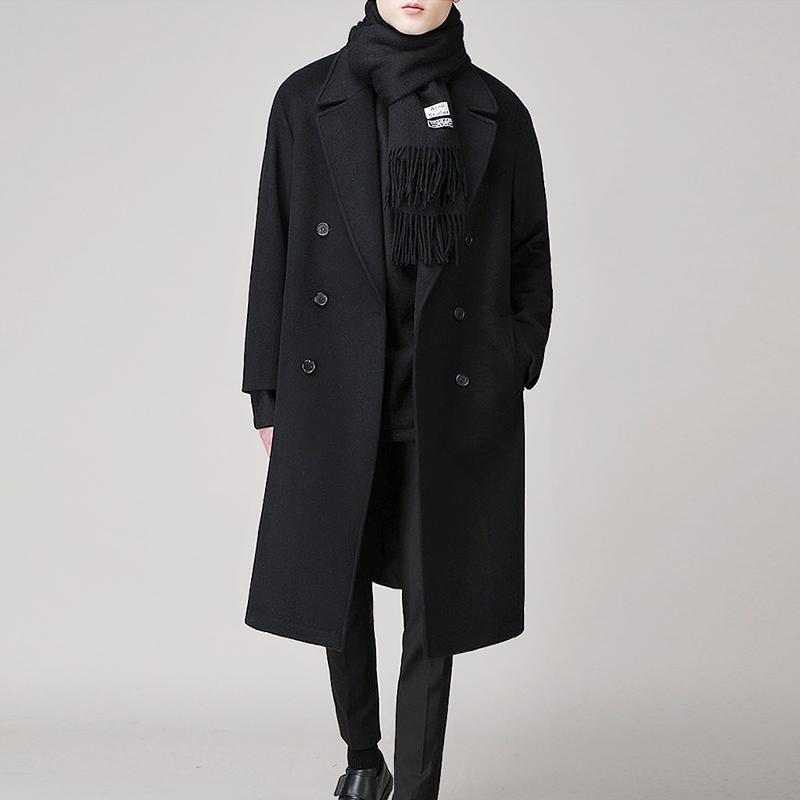 男士风衣 冬季韩版男士落肩毛呢大衣中长款青年双面绒风衣男装加厚呢子外套_推荐淘宝好看的男风衣