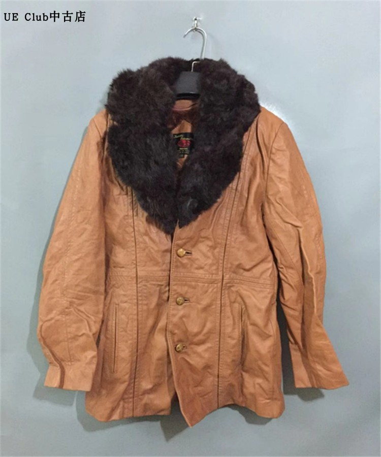 黄色皮衣 【75新】vintage  韩国制古着兔毛大翻领土黄色羊皮衣_推荐淘宝好看的黄色皮衣