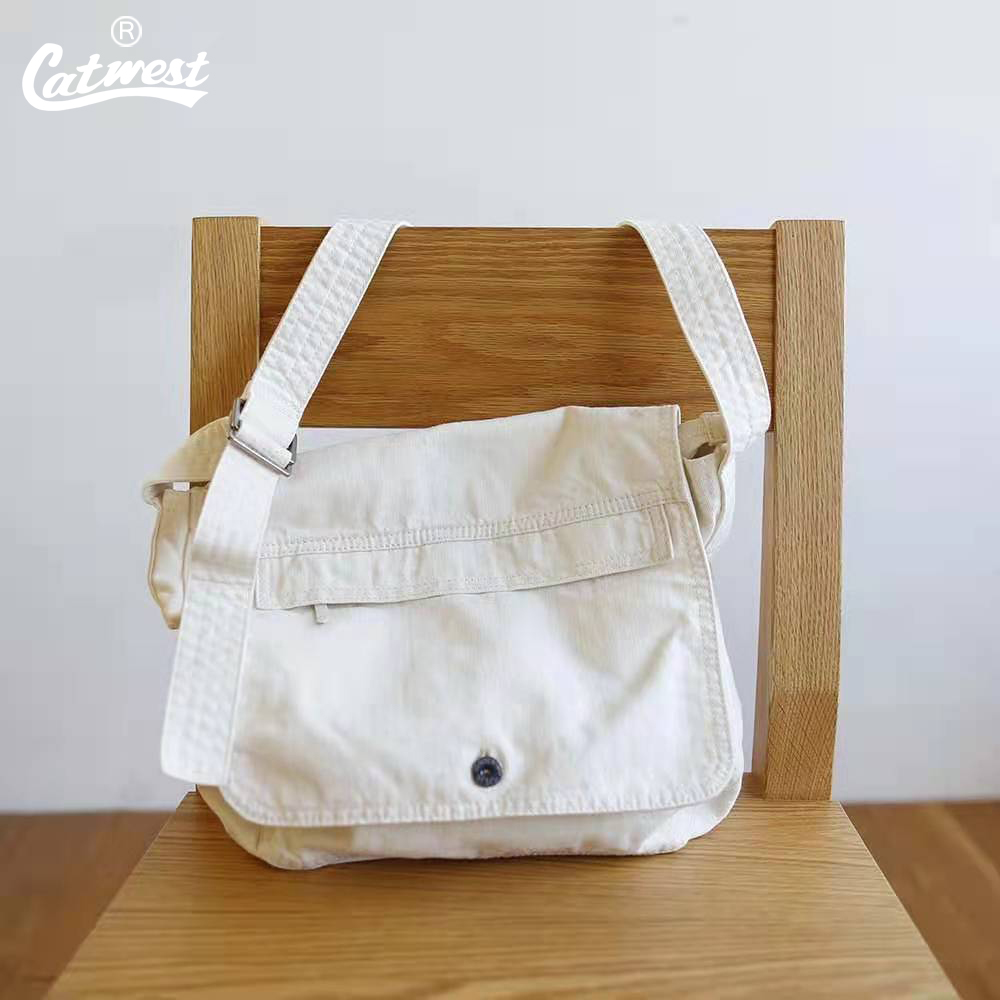 白色复古包 猫西CATWEST设计白色牛仔斜挎单肩包女复古工装背包大容量日系新_推荐淘宝好看的白色复古包