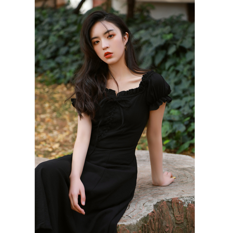 黑色连衣裙 春夏季法式复古黑色连衣裙短袖桔梗长裙显瘦打底裙子气质少女初恋_推荐淘宝好看的黑色连衣裙