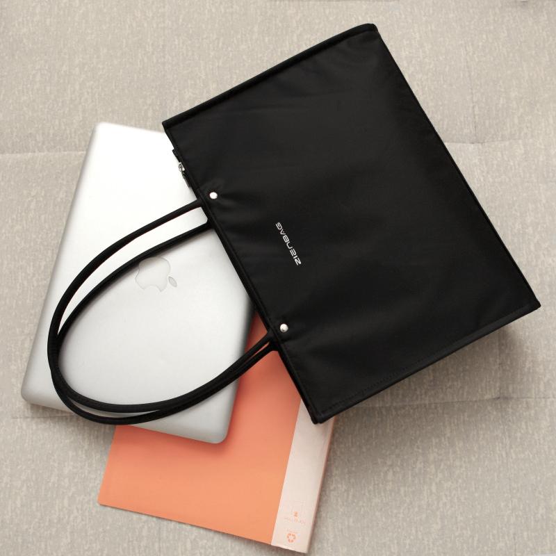 黑色手提包 轻便手袋大容量手提包男包商务休闲文件包简约公文包横款黑色布_推荐淘宝好看的黑色手提包
