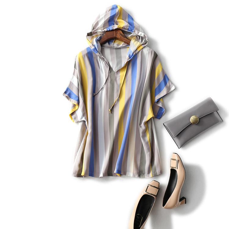 彩色条纹t恤 夏季女装上衣宽松彩色竖条纹印花连帽薄款真丝双绉休闲短袖T恤衫_推荐淘宝好看的女彩色条纹t恤