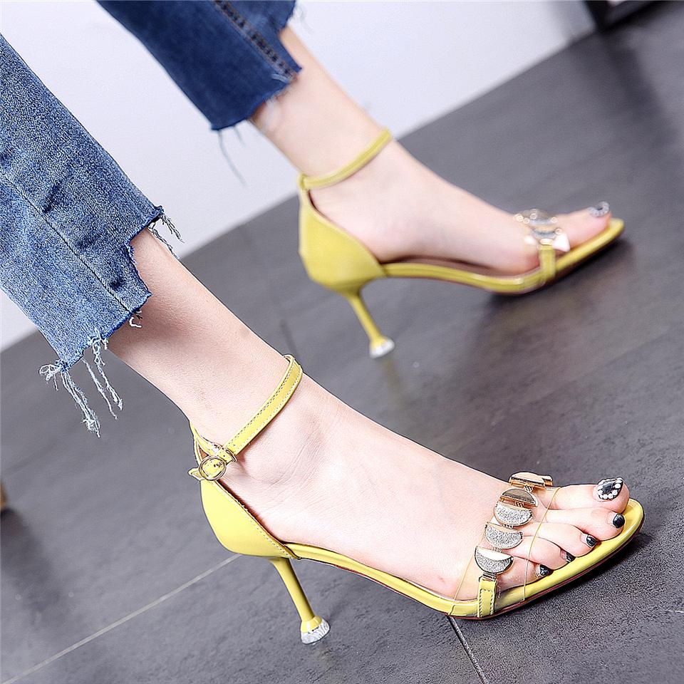 黄色凉鞋 一字扣带亮片细高跟凉鞋2019夏季新款百搭网红仙女风黄色高跟鞋ol_推荐淘宝好看的黄色凉鞋