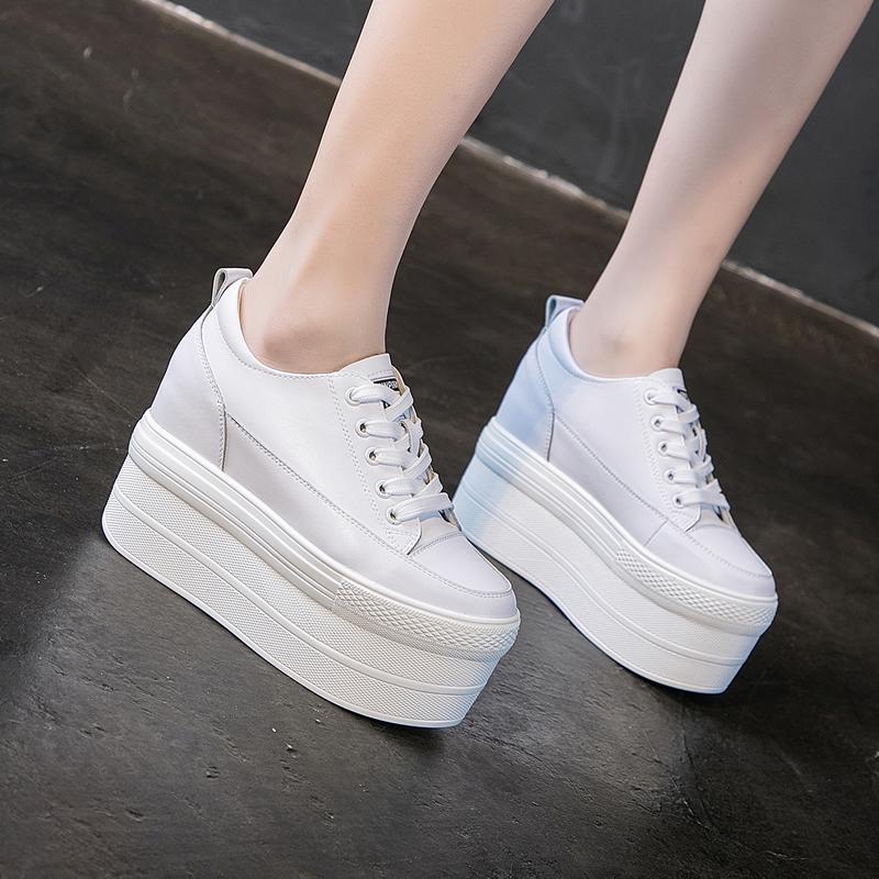 白色松糕鞋 12cm白色内增高休闲超厚底显瘦显脚小真皮松糕加绒小白鞋女婚鞋33_推荐淘宝好看的白色松糕鞋