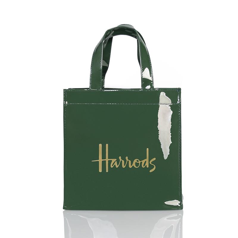 绿色手提包 新款 pvc shopping bag墨绿色金字大容量防水购物袋环保袋手提包_推荐淘宝好看的绿色手提包