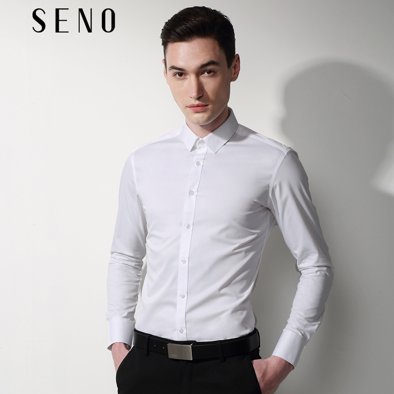 白色衬衫 Seno机洗免烫抗皱白衬衫男长袖修身商务上班职业正装白色男士衬衣_推荐淘宝好看的白色衬衫