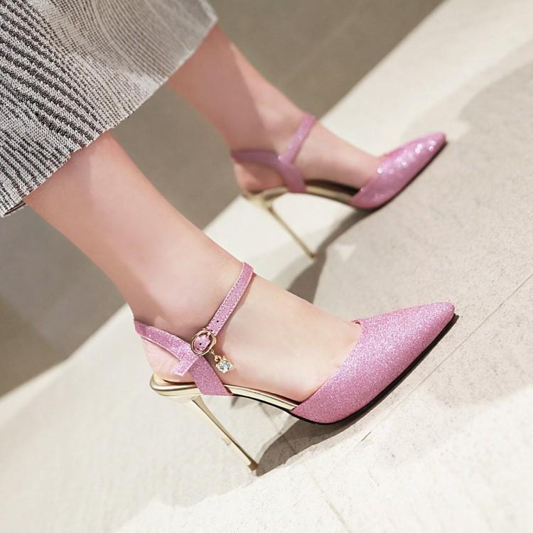 粉红色凉鞋 镂空后绊带粉红色凉鞋细高跟蓝色大码反串伪娘CDTS婚鞋尖头亮片银_推荐淘宝好看的粉红色凉鞋