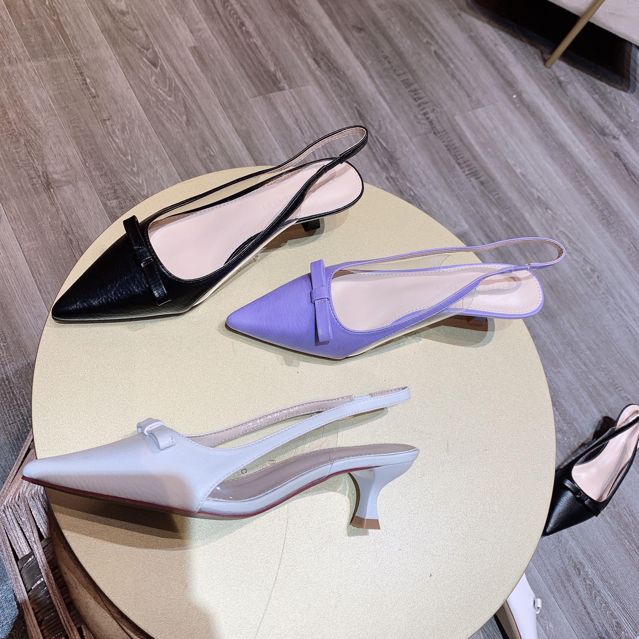紫色凉鞋 0 性感低跟凉鞋 4厘米女鞋尖头浅口细跟百搭气质职业多色橙色紫色_推荐淘宝好看的紫色凉鞋