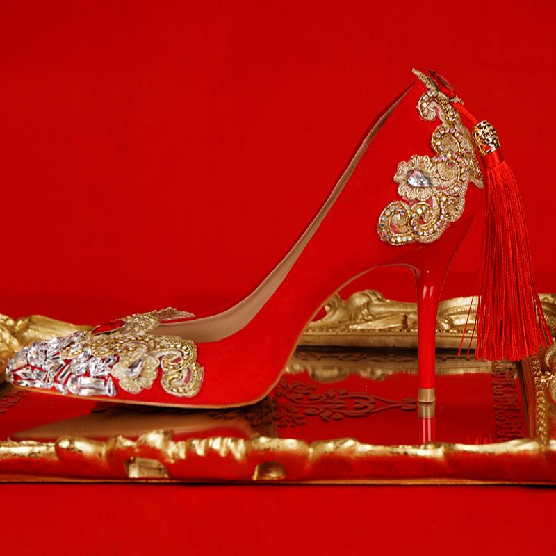 红色单鞋 2020新款新娘鞋旗袍秀禾鞋水晶鞋婚鞋女红色敬酒鞋金色水钻单鞋子_推荐淘宝好看的红色单鞋