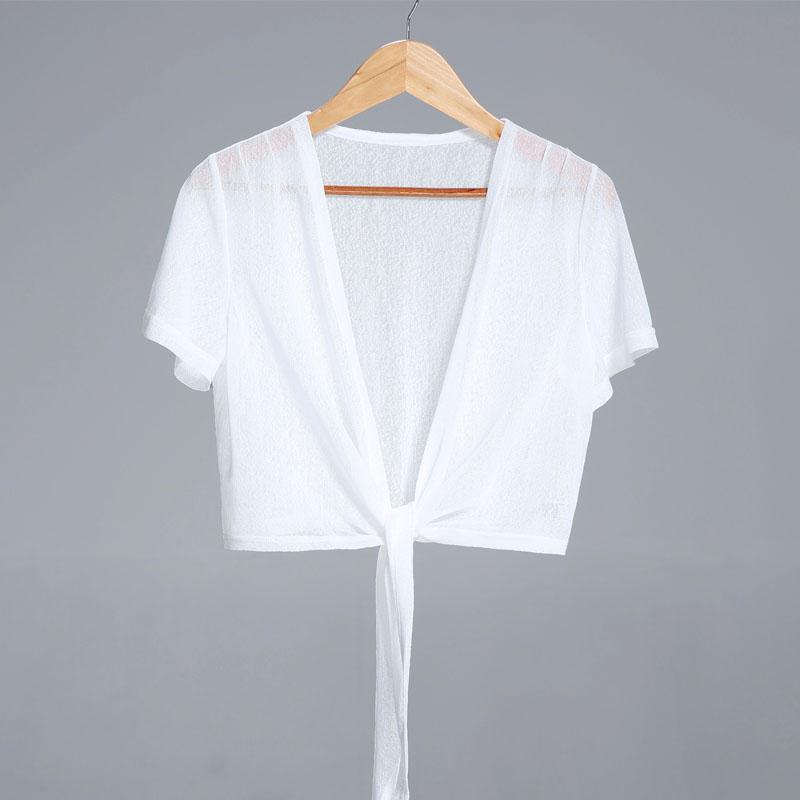 白色雪纺衫 2021新款冰丝百搭小披肩夏季配裙子短袖白色外搭短款雪纺开衫薄款_推荐淘宝好看的白色雪纺衫