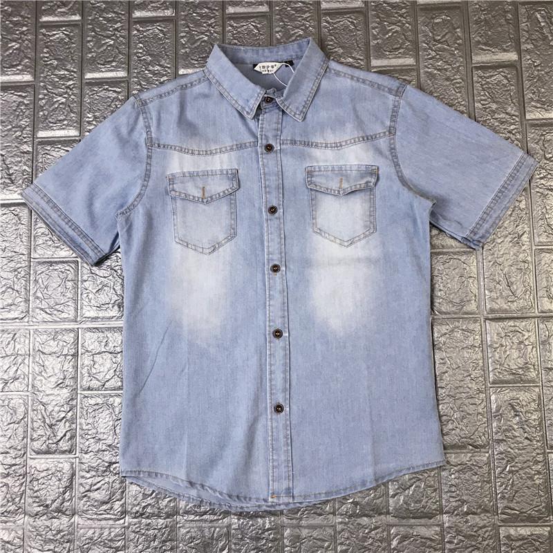 男士牛仔衬衫 2020夏季牛仔衬衫男短袖上衣修身衬衣学生休闲薄款外套青少年衬衫_推荐淘宝好看的男牛仔衬衫