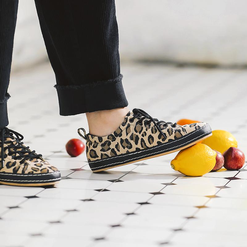 豹纹帆布鞋 MASOOMAKE玛速主义 2021春季新款平底帆布板鞋子超火网红豹纹鞋女_推荐淘宝好看的女豹纹帆布鞋