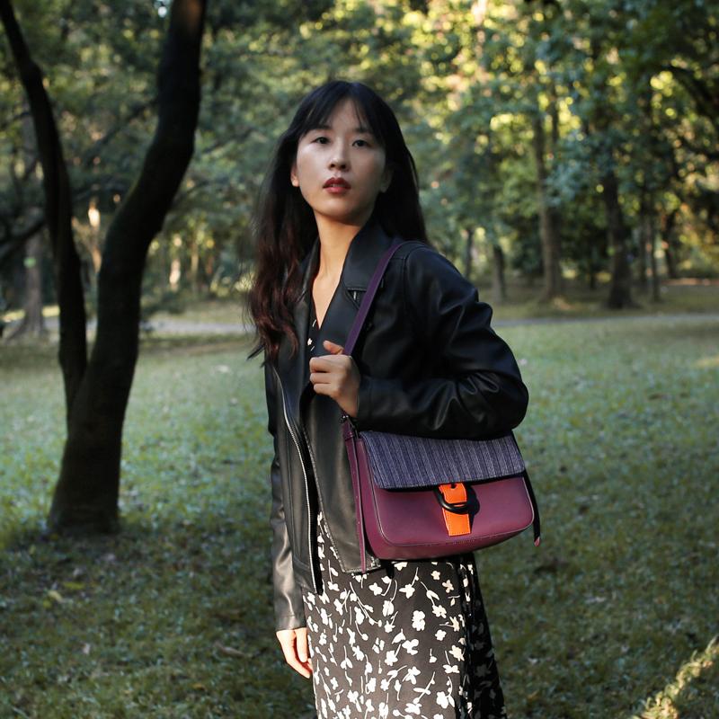 紫色斜挎包 包包女2021新款法式气质腋下包法棍包女紫色撞色小方包女斜挎单肩_推荐淘宝好看的紫色斜挎包