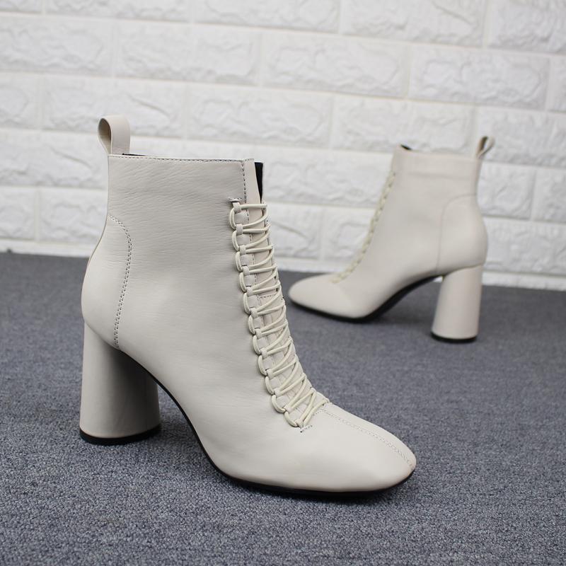 圆头短靴 欧洲站女鞋新款春靴胎牛皮圆头粗跟真皮系带软皮高跟鞋白色短靴女_推荐淘宝好看的女圆头短靴