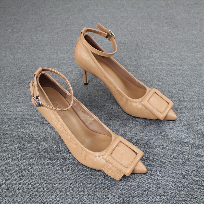 尖头高跟单鞋 欧洲站女鞋2021新款欧货一字扣带细跟浅口软皮尖头真皮高跟鞋单鞋_推荐淘宝好看的女尖头高跟单鞋
