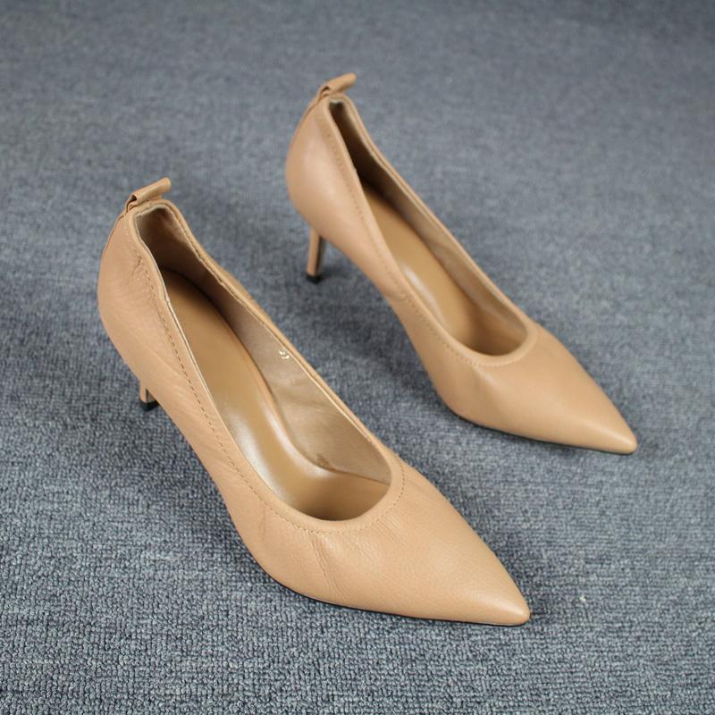 尖头高跟单鞋 新款胎小牛皮ol细跟尖头职业工作鞋真皮舒适软皮高跟鞋软底单鞋女_推荐淘宝好看的女尖头高跟单鞋