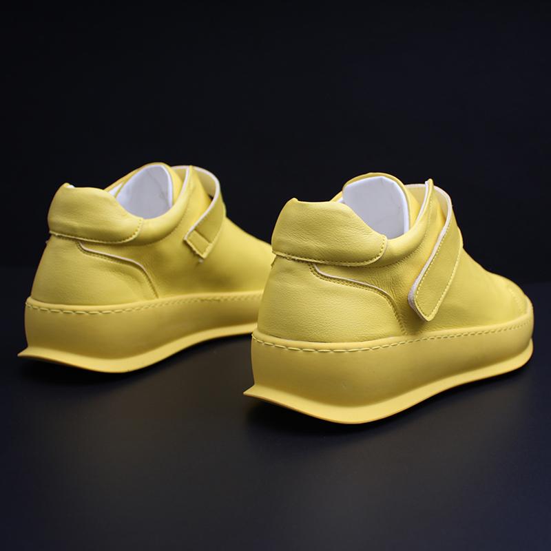 黄色豆豆鞋 欧洲站男鞋秋季潮鞋2019新款休闲皮鞋一脚蹬乐福鞋潮流黄色豆豆鞋_推荐淘宝好看的黄色豆豆鞋