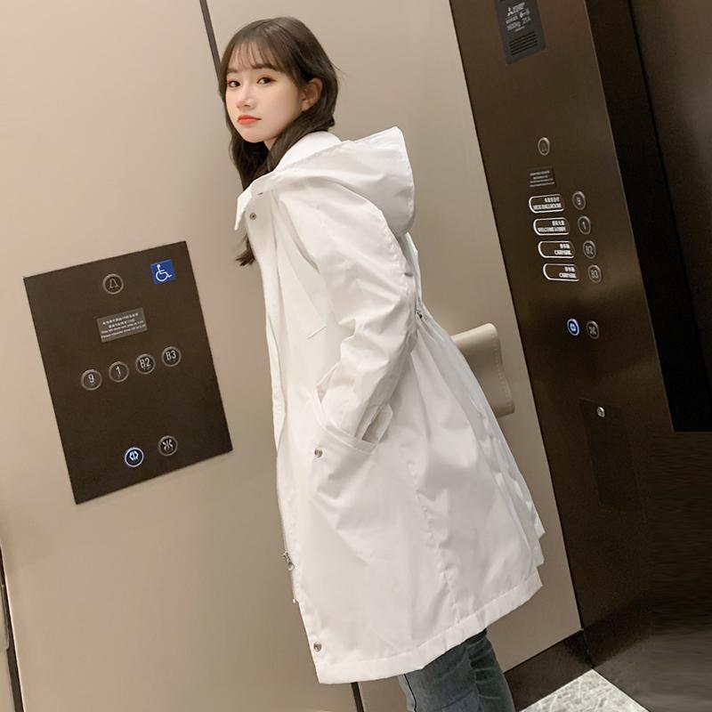 白色风衣 风衣女中长款2021春秋学生韩版收腰气质休闲宽松白色风衣外套潮_推荐淘宝好看的白色风衣