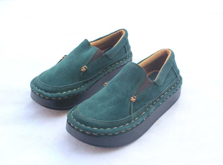 绿色松糕鞋 米迦勒正品女鞋休闲鞋真皮厚底鞋松糕鞋圆头单鞋潮鞋韩版鞋 绿色_推荐淘宝好看的绿色松糕鞋