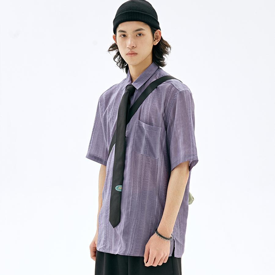紫色衬衫 NKGC 春夏复古紫色水洗扎染短袖衬衫基础宽松休闲透气衬衣男女_推荐淘宝好看的紫色衬衫