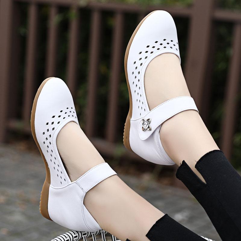 白色单鞋 春夏季护士鞋白色真皮坡跟单鞋内增高小白鞋牛筋软底浅口镂空女鞋_推荐淘宝好看的白色单鞋