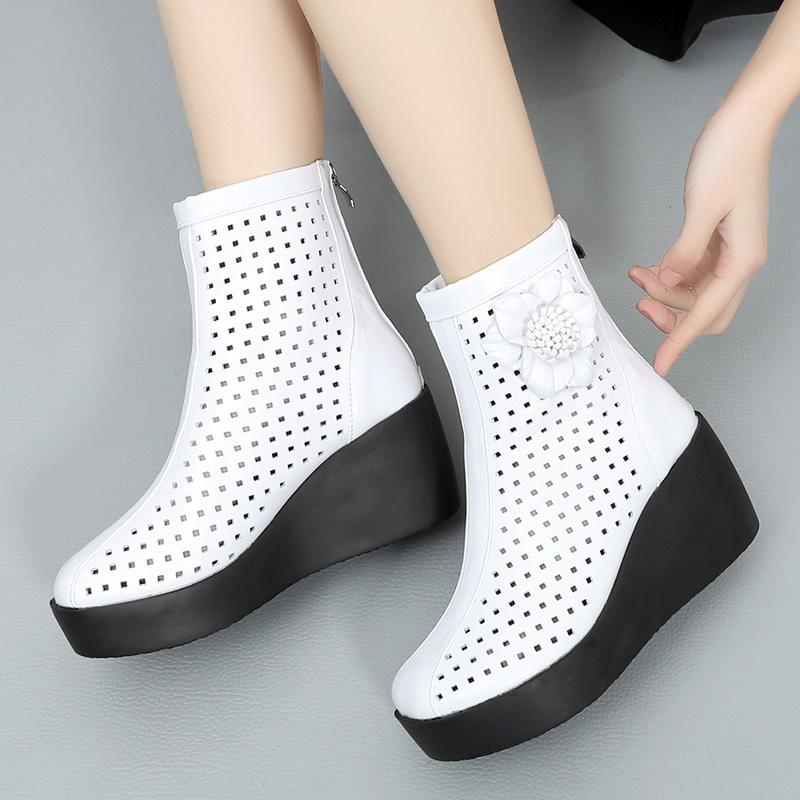 白色坡跟鞋 2021新款女鞋短靴春秋单靴坡跟厚底高跟鞋夏季裸靴镂空白色女靴子_推荐淘宝好看的白色坡跟鞋