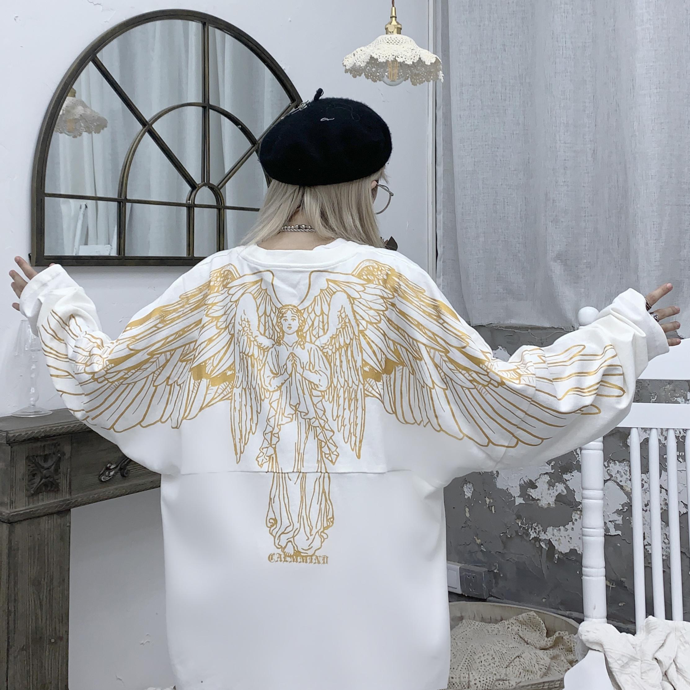 男士长袖卫衣 Calmmind 圣母天使翅膀长袖男女宽松祈祷手套头印花落肩卫衣_推荐淘宝好看的男长袖卫衣