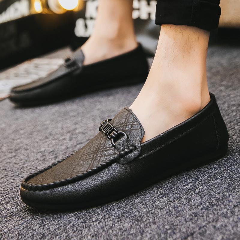 黑色豆豆鞋 春季男生黑色休闲个性豆豆鞋男学生快手红人潮流鞋子社会懒人鞋男_推荐淘宝好看的黑色豆豆鞋
