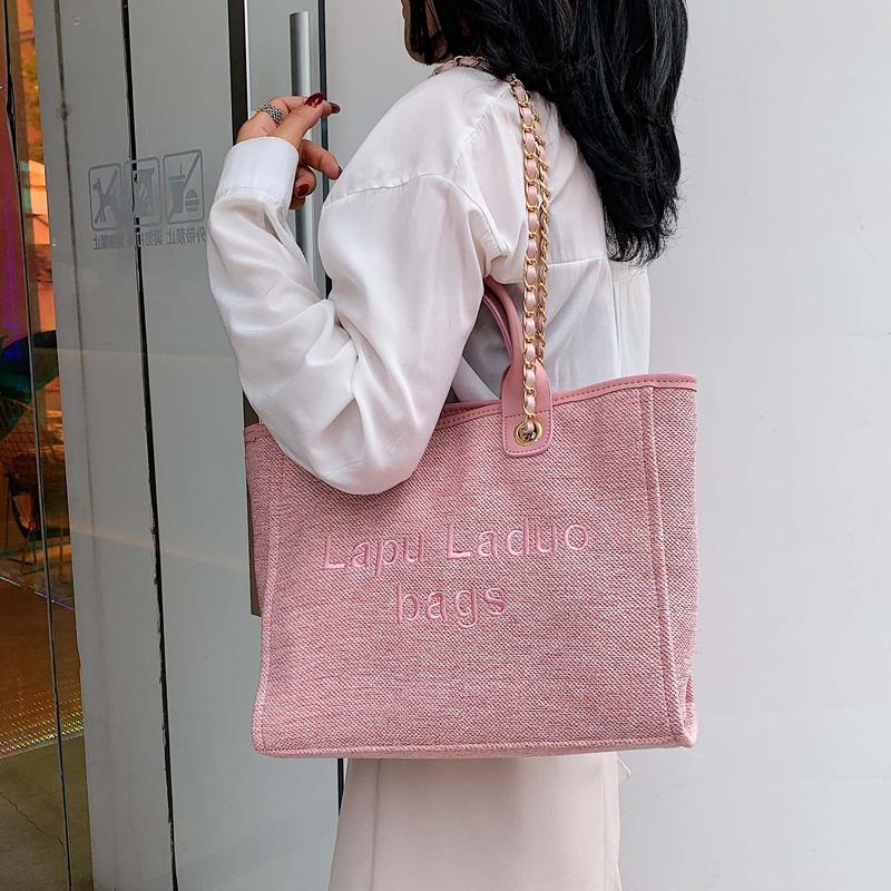 粉红色手提包 网红大包包女2020新款潮百搭大容量学生帆布包ins手提单肩斜挎包_推荐淘宝好看的粉红色手提包