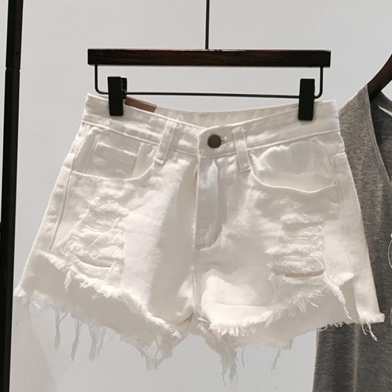白色牛仔裤 白色牛仔短裤女夏季2021新款宽松显瘦破洞a字阔腿薄款高腰ins热裤_推荐淘宝好看的白色牛仔裤