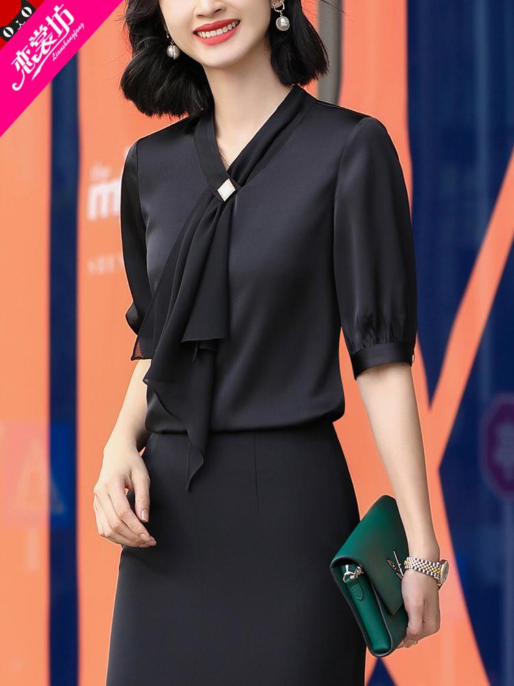 黑色雪纺衬衫 黑色衬衫女设计感小众2021夏季新款飘带雪纺上衣醋酸锻面短袖衬衣_推荐淘宝好看的女黑色雪纺衬衫