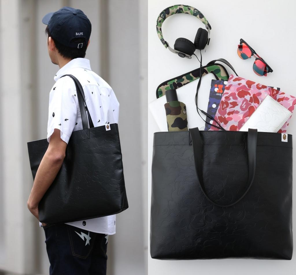 黑色手提包 日本杂志款猿人黑色皮质单肩包潮ins网红手提单肩托特包男女同款_推荐淘宝好看的黑色手提包