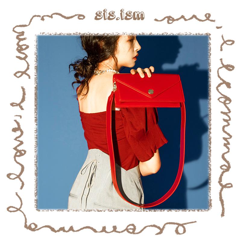 红色链条包 SISISM姐妹主义真皮链条小方包红色新娘婚包宽带单肩斜挎包信封包_推荐淘宝好看的红色链条包