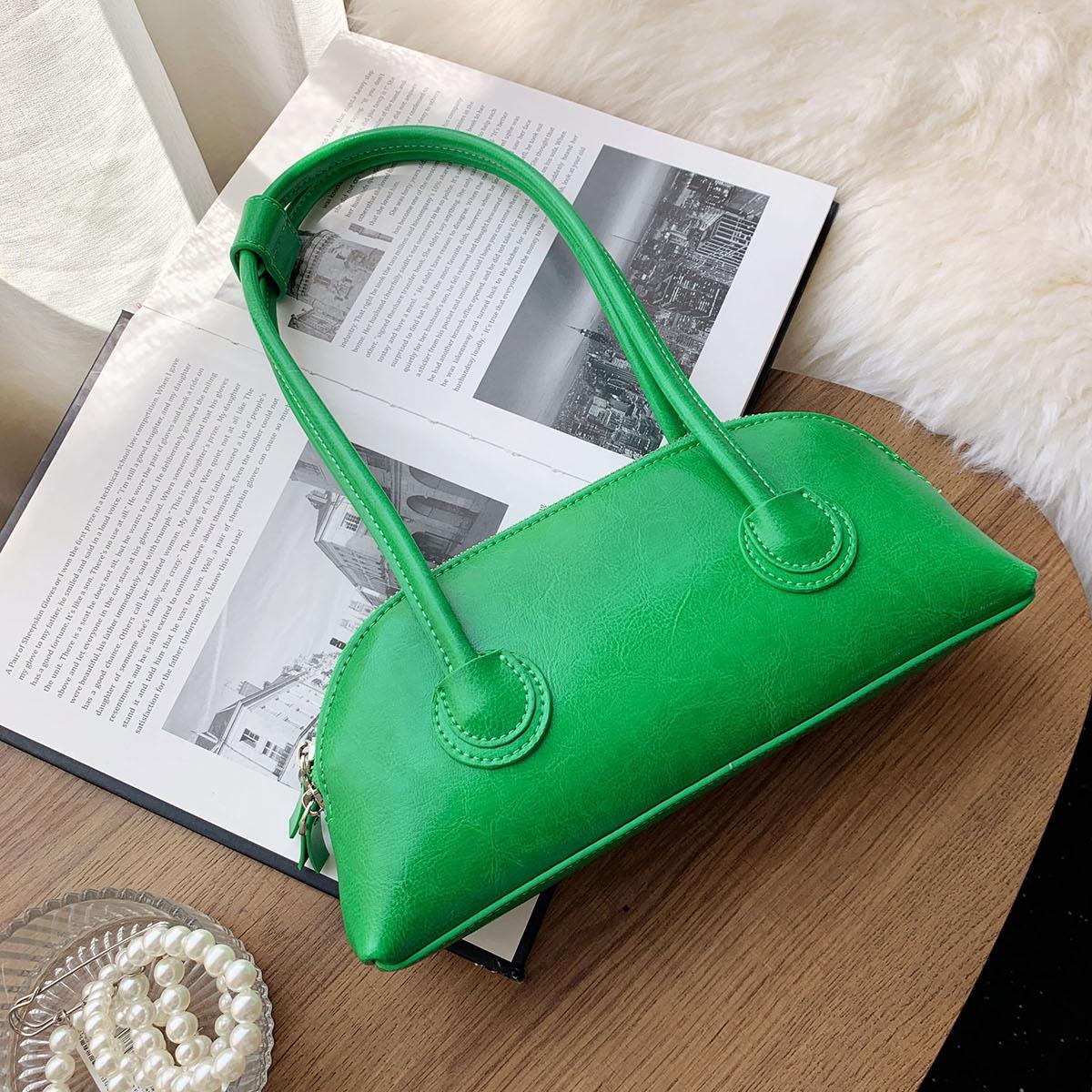 绿色贝壳包 腋下包女夏高级感洋气质感小众设计真牛皮单肩手提绿色包包贝壳包_推荐淘宝好看的绿色贝壳包