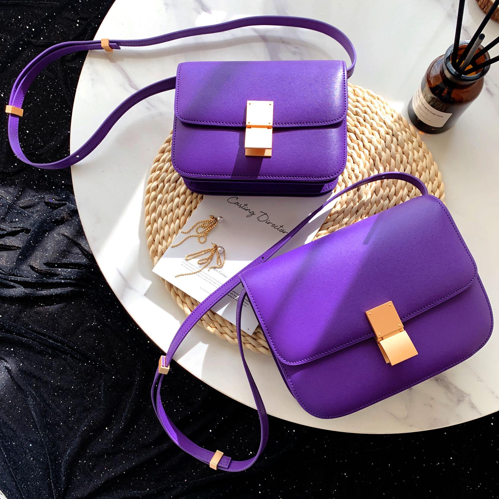 紫色斜挎包 2020新款高级感小包紫色豆腐包女斜挎box牛皮百搭小方包潮空姐包_推荐淘宝好看的紫色斜挎包