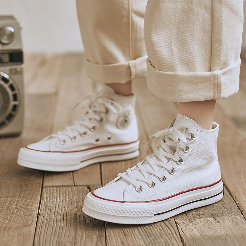 白色高帮鞋 人本高帮帆布鞋女2021复古港风板鞋白色高帮鞋百搭休闲高邦小白鞋_推荐淘宝好看的白色高帮鞋