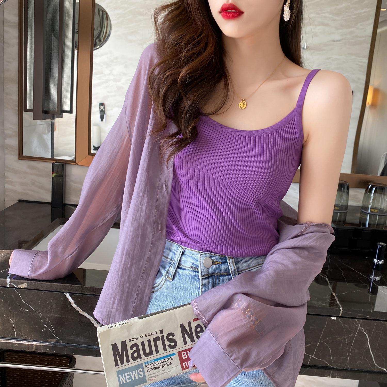 紫色背心 短款白针织小吊带女防晒内搭夏季冰丝背心打底衫外穿性感上衣紫色_推荐淘宝好看的紫色背心