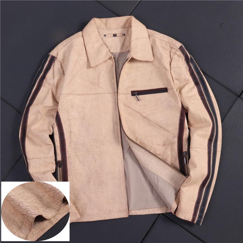 真皮夹克 来点狠货 美式硬汉复古爆裂纹质感真皮男士拉链夹克外套B19-Y139_推荐淘宝好看的男真皮夹克