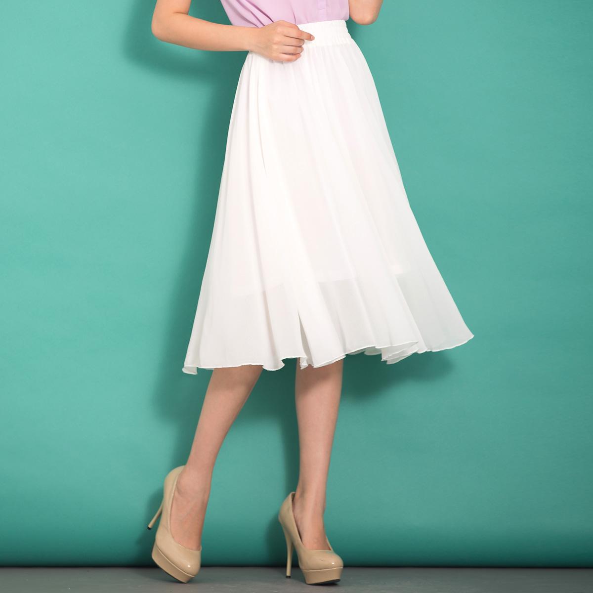 白色半身裙 雪纺半身裙女夏中长裙松紧腰纯色a字长裙百搭大摆雪纺裙白色半裙_推荐淘宝好看的白色半身裙