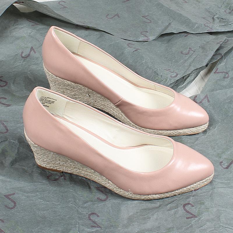 粉红色坡跟鞋 42码大脚丫福利!外贸大码女鞋粉红色尖头浅口单鞋麻绳坡跟高跟鞋_推荐淘宝好看的粉红色坡跟鞋