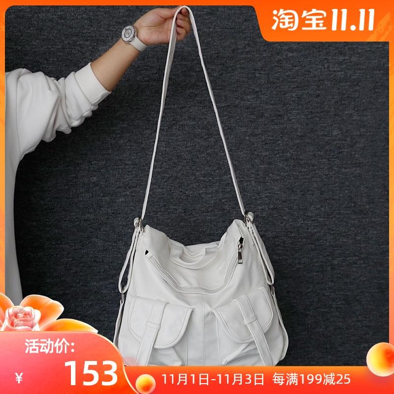 白色双肩包 原创包包女夏季斜挎包大包女大容量单双肩两用包白色时尚小众设计_推荐淘宝好看的白色双肩包
