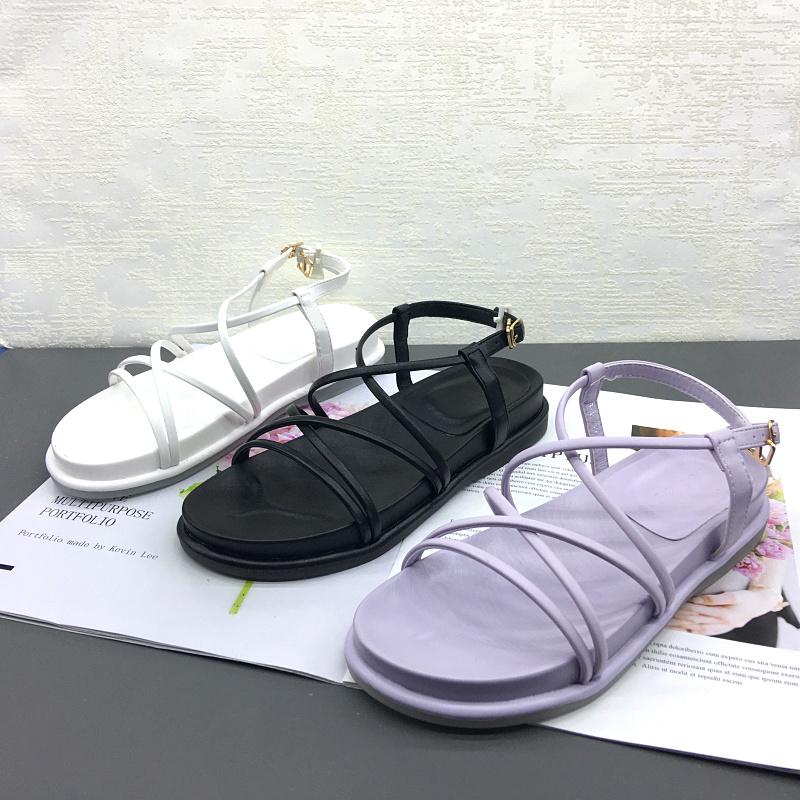 紫色鱼嘴鞋 2020夏季新款交叉带平跟舒适软底休闲洋气百搭紫色露趾凉鞋女夏_推荐淘宝好看的紫色鱼嘴鞋