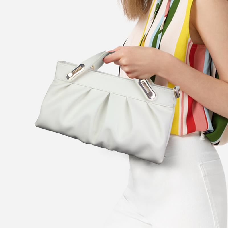 白色手拿包 女士真皮手拿包女包2021新款潮白色高端气质手包手提包斜挎小包包_推荐淘宝好看的白色手拿包
