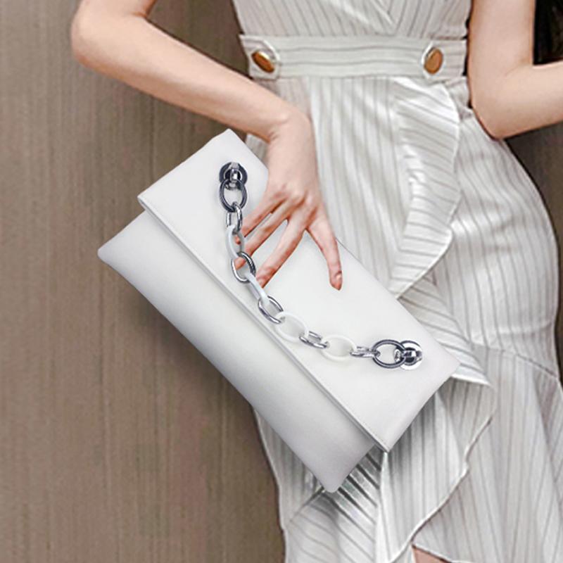 白色信封包 高档信封女士真皮手拿包女包2021新款白色气质斜挎小包包手包手抓_推荐淘宝好看的白色信封包