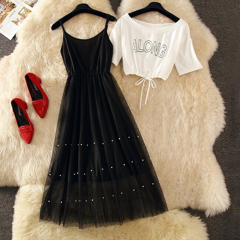 白色吊带连衣裙 一字肩网纱吊带连衣裙2019新款夏减龄显瘦套装两件套网红洋气裙子_推荐淘宝好看的白色吊带连衣裙