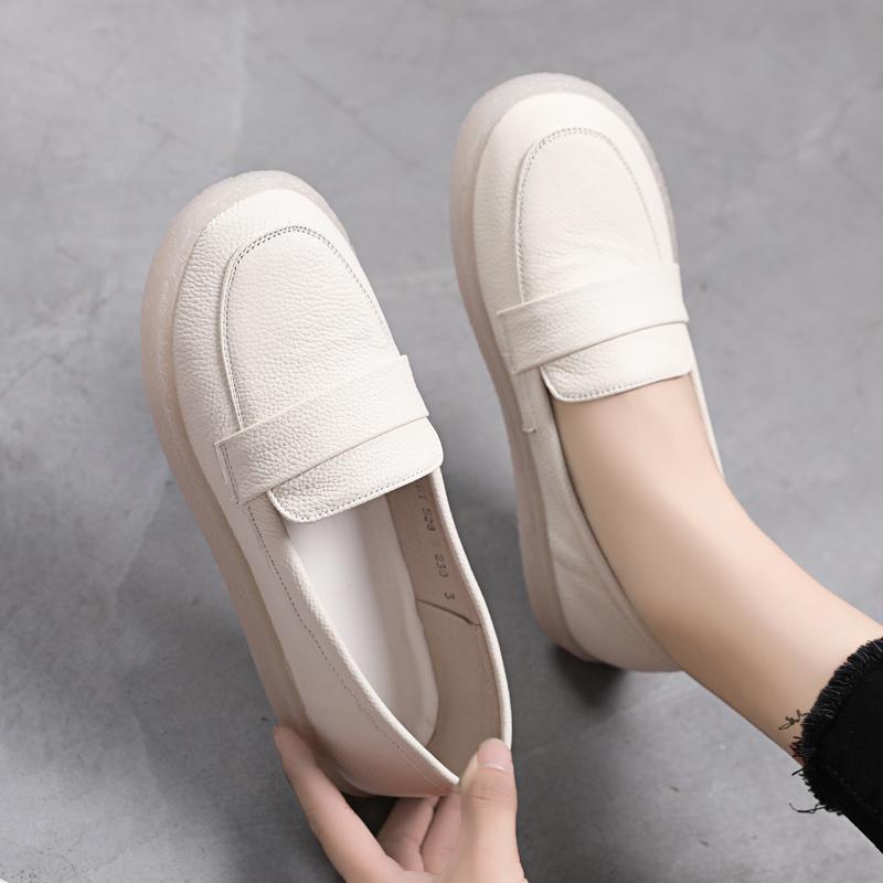 白色单鞋 真皮牛筋底单鞋女白色护士鞋防滑休闲舒适软皮软底大码女鞋41-43_推荐淘宝好看的白色单鞋