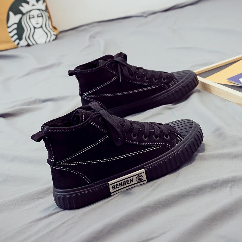黑色帆布鞋 人本冬季加绒帆布鞋女2019新款百搭学生冬款鞋子黑色高帮韩版棉鞋_推荐淘宝好看的黑色帆布鞋
