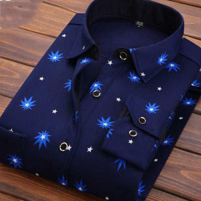 男士长袖衬衫 秋冬男士长袖保暖加绒加厚衬衫格子外套印花衣服男爸爸装23P_推荐淘宝好看的男长袖衬衫