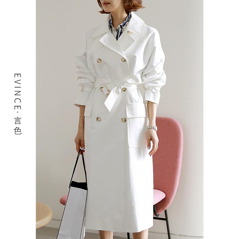 白色风衣 白色风衣女中长款英伦风2021年春新款高端大牌气质洋气流行长外套_推荐淘宝好看的白色风衣